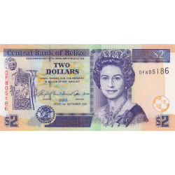 Belize - Pick 66c - 2 dollars - 2007 - Etat : NEUF