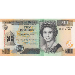Belize - Pick 68d - 10 dollars - 2011 - Etat : NEUF