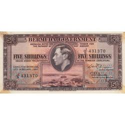 Bermudes - Pick 14 - 5 shillings - 17/02/1947 - Série J/5 - Etat : TTB