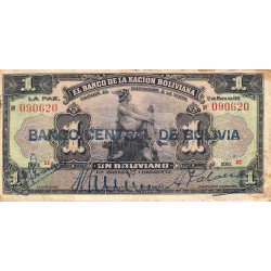 Bolivie - Pick 112_2 - 1 boliviano - 11/05/1911 (1929) - Série X2 - Etat : TB