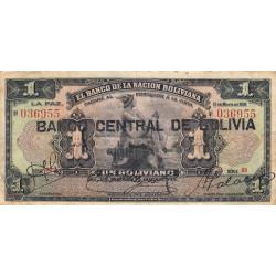 Bolivie - Pick 112_3 - 1 boliviano - 11/05/1911 (1929) - Etat : TB