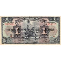 Bolivie - Pick 112_3 - 1 boliviano - 11/05/1911 (1929) - Série P4 - Erreur de couleur - Etat : TB+