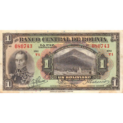Bolivie - Pick 118_1 - 1 boliviano - Loi 1928 (1934) - Série T1 - Etat : TB+