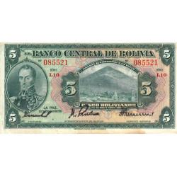 Bolivie - Pick 120_7 - 5 bolivianos - Loi 1928 (1940) - Série L10 - Etat : TB+