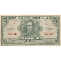 Bolivie - Pick 129_2 - 5 bolivianos - Loi 1928 (1948) - Série S - Etat : TB