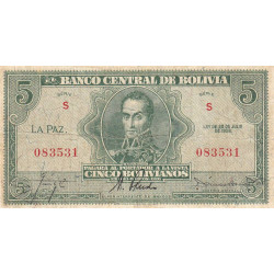 Bolivie - Pick 129_2 - 5 bolivianos - Loi 1928 - Etat : TB
