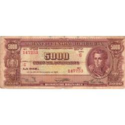 Bolivie - Pick 150_4 - 5'000 bolivianos - Loi 1945 (1957) - Série G - Etat : B+