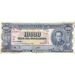 Bolivie - Pick 151_6 - 10'000 bolivianos - Loi 1945 (1957) - Série A1 - Etat : B+
