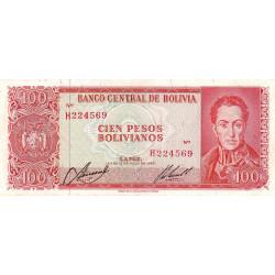 Bolivie - Pick 163a9 - 100 pesos bolivianos - Loi 1962 (1972) - Etat : TTB