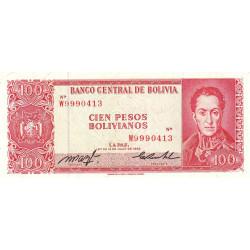 Bolivie - Pick 163a19 - 100 pesos bolivianos - Loi 1962 (1982) - Etat : TTB+