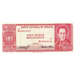 Bolivie - Pick 163a19 - 100 pesos bolivianos - Loi 1962 - Etat : TTB+