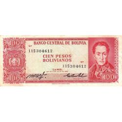 Bolivie - Pick 164b1 - 100 pesos bolivianos - Loi 1962 - Etat : TB+