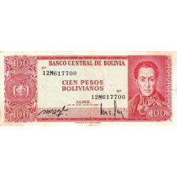 Bolivie - Pick 164b2 - 100 pesos bolivianos - Loi 1962 - Etat : TB+