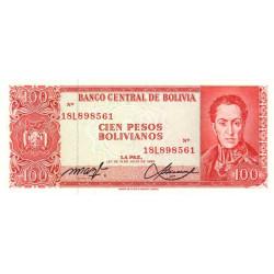 Bolivie - Pick 164A2 - 100 pesos bolivianos - Loi 1962 (1982) - Etat : NEUF