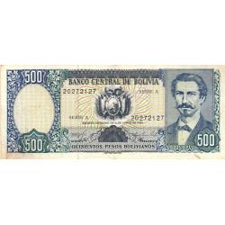 Bolivie - Pick 165a1 - 500 pesos bolivianos - Loi 1981 (1982) - Série A - Etat : TB+