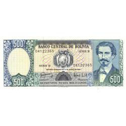 Bolivie - Pick 166a - 500 pesos bolivianos - Loi 1981 (1983) - Série B - Etat : NEUF