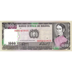 Bolivie - Pick 167a2 - 1'000 pesos bolivianos - Loi 1982 (1984) - Etat : NEUF