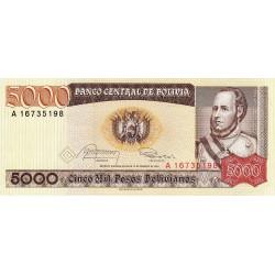 Bolivie - Pick 168a1 - 5'000 pesos bolivianos - Loi 1984 - Série A - Etat : NEUF