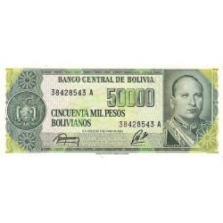 Bolivie - Pick 170a2 - 50'000 pesos bolivianos - Loi 1984 - Série A - Etat : NEUF
