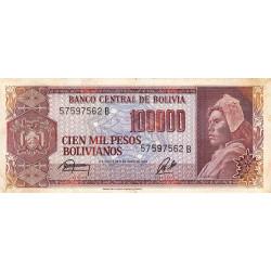 Bolivie - Pick 171a2 - 100'000 pesos bolivianos - Loi 1984 - Série B - Etat : TB+