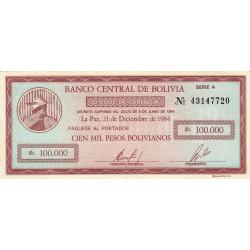 Bolivie - Pick 188 - 100'000 pesos bolivianos - Loi 1984 - Etat : SUP