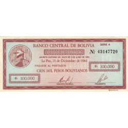 Bolivie - Pick 188 - 100'000 pesos bolivianos - Loi 1984 - Série A - Etat : SUP