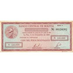 Bolivie - Pick 188 - 100'000 pesos bolivianos - Loi 1984 - Etat : TTB