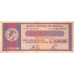 Bolivie - Pick 192 - 10'000'000 pesos bolivianos - Loi 1985 - Série A - Etat : TB+