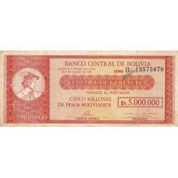 Bolivie - Pick 200a - 5 bolivianos sur 5'000'000 pesos bolivianos - Loi 1985 (1987) - Série B - Etat : TB