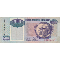 Angola - Pick 128c - 500 kwanzas - 1991 - Etat : TTB