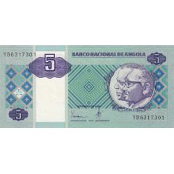 Angola - Pick 144a - 5 kwanzas - 10/1999 - Etat : NEUF