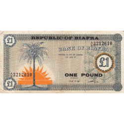 Biafra - Pick 2 - 1 pound - Série A/B - 1968 - Etat : TB