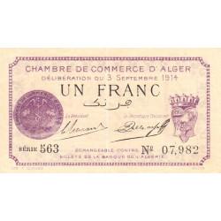 Algérie - Alger 137-1 - 1 franc - Série 563 - 03/09/1914 - Etat : SPL