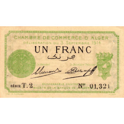 Algérie - Alger 137-03 - 1 franc - Série T - 1914 - ETAT : SUP+