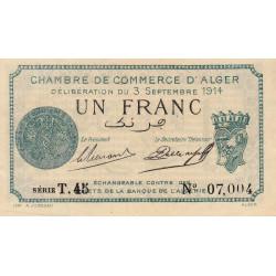 Algérie - Alger 137-04 - 1 franc - Série T - 1914 - ETAT : SPL