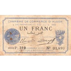 Algérie - Alger 137-12 - 1 franc - Série P.319 - 25/06/1919 - Etat : TB