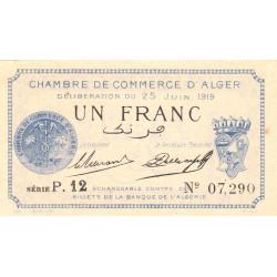 Algérie - Alger 137-12 - 1 franc - Série P.12 - 25/06/1919 - Etat : SPL