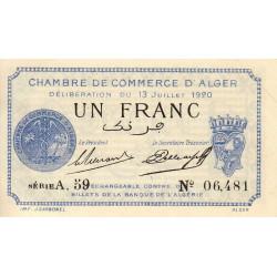 Algérie - Alger 137-14 - 1 franc - Série A.59 - 13/07/1920 - Etat : SPL