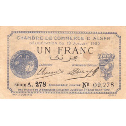 Algérie - Alger 137-15 - 1 franc - Série A - 1920 - ETAT : TB+