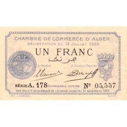Algérie - Alger 137-15 - 1 franc - Série A - 1920 - ETAT : SUP