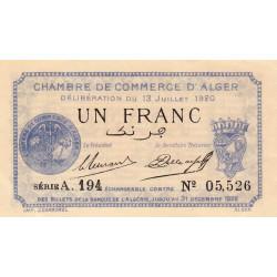 Algérie - Alger 137-15 - 1 franc - Série A - 1920 - ETAT : SPL+