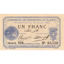 Algérie - Alger 137-15 - 1 franc - Série A.194 - 13/07/1920 - Etat : SPL+