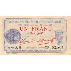 Algérie - Alger 137-18 - 1 franc - Série B.6 - 22/06/1921 - Etat : SPL+