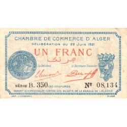 Algérie - Alger 137-20 - 1 franc - Série B.350 - 22/06/1921 - Etat : TB+