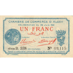 Algérie - Alger 137-20 - 1 franc - Série B - 1921 - ETAT : SPL