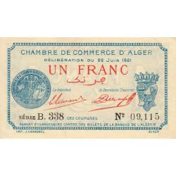Algérie - Alger 137-20 - 1 franc - Série B.338 - 22/06/1921 - Etat : SPL