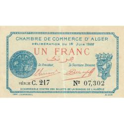 Algérie - Alger 137-24 - 1 franc - Série C.217 - 14/06/1922 - Etat : SUP