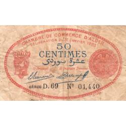 Algérie - Alger 137-25 - 50 centimes - Série D.69 - 31/01/1923 - Etat : B+
