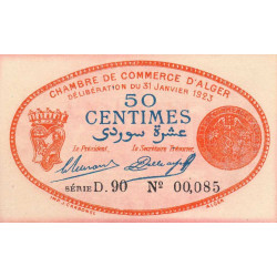 Algérie - Alger 137-25 - 50 centimes - Série D.85 - 31/01/1923 - Etat : SPL