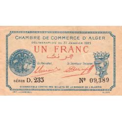 Algérie - Alger 137-26 - 1 franc - Série D - 1923 - ETAT : TTB+